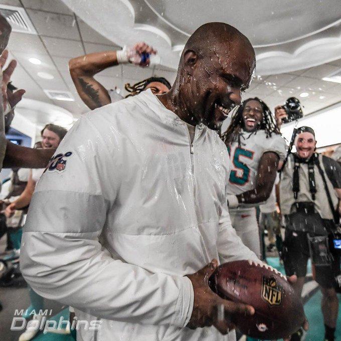 Brian Flores Celebrates With His Team © Miami Dolphins