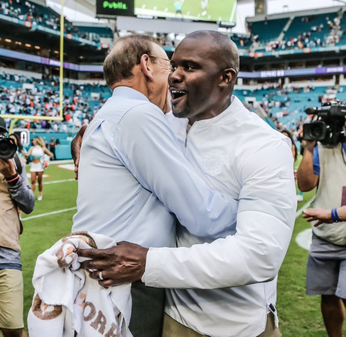 Coach Flo and Dolphins Owner Stephen Ross celebrate win © Miami Dolphins