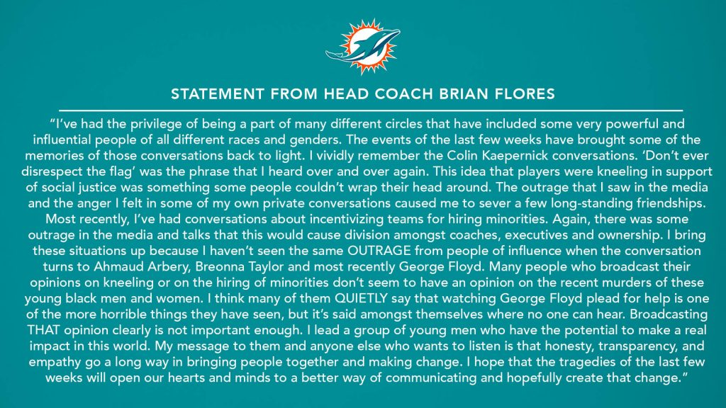 Brian Flores statement courtesy of @miamidolphins