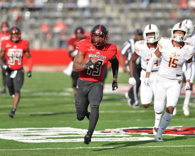Kirk Merritt had 1,872 yards and 19 touchdowns for Arkansas State