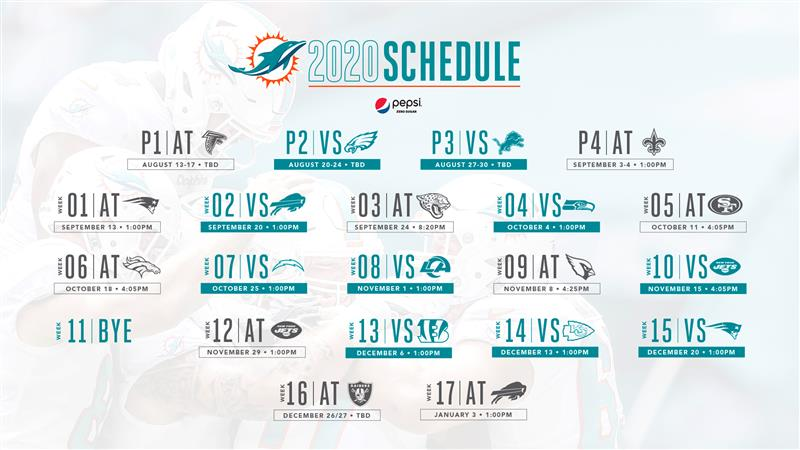 Miami Dolphins 2020 Schedule in full