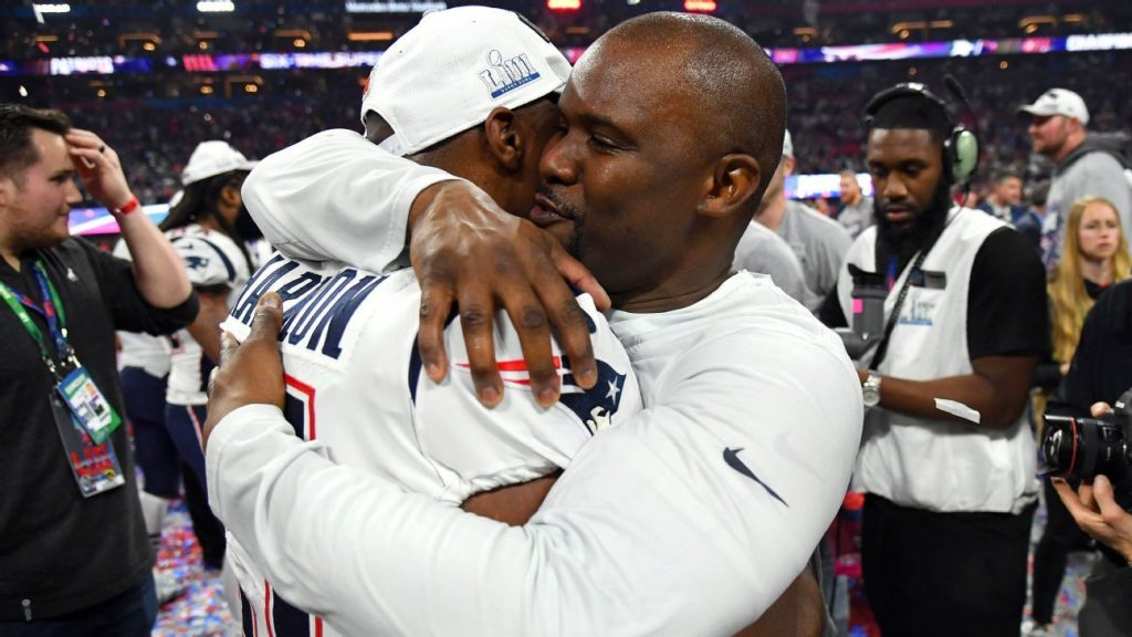 Dolphins HC Brian Flores celebrating winning a Super Bowl with the Patriots.