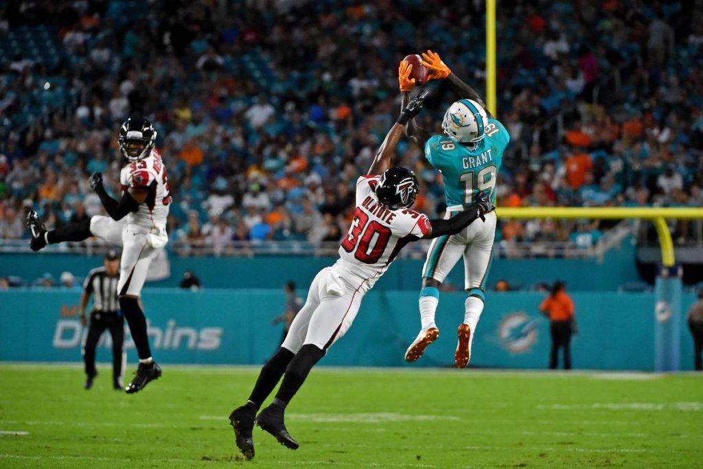 Jakeem Grant goes up high for the catch against the Falcons